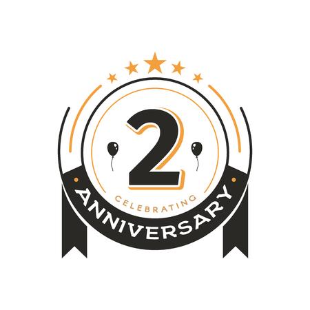 Urodziny vintage logo szablon 2 rocznica koło retro na białym tle wektor godło. Odznaka w wieku 2 lat na białym tle Logo