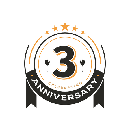 Birthday vintage logo template 3 rd anniversary circle retro isolated vector emblem. Third years old badge on white background