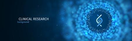 Modello di sfondo blu di vettore di ricerca scientifica o medica. Banner web astratto di scienza con effetto sfocato Vettoriali