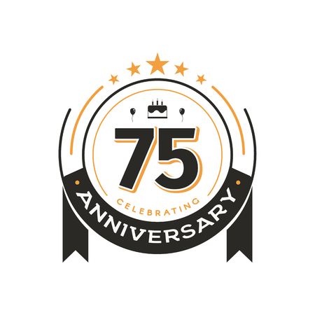75 th Birthday vintage logo template anniversary circle retro isolated vector emblem. Seventy five years old badge on white background
