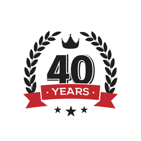 40 th birthday vintage logo template. Forty years anniversary retro isolated vector emblem with red ribbon and laurel wreath on white background. Illusztráció