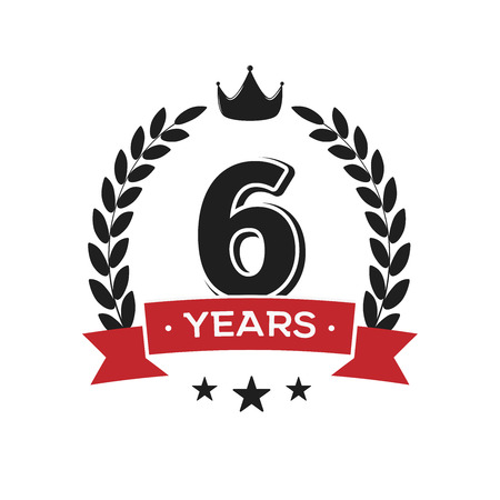6 th birthday vintage logo template. Sixth years anniversary retro isolated vector emblem with red ribbon and laurel wreath on white background.