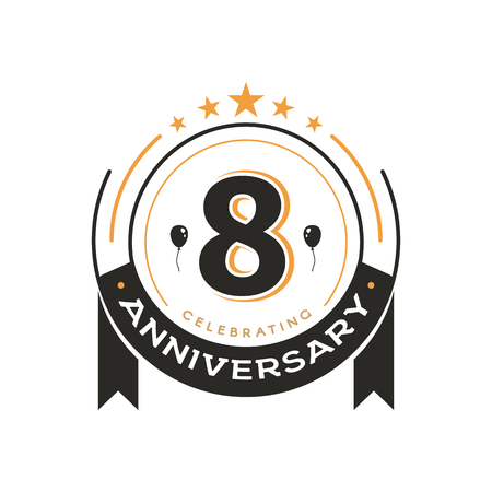 Birthday vintage logo template 8 th anniversary circle retro isolated vector emblem. Eighth years old badge on white background Ilustração