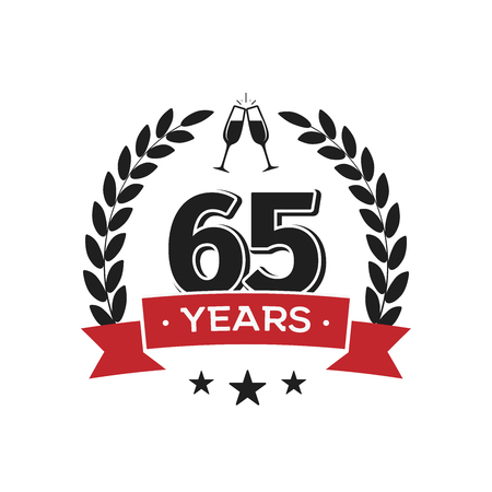 65 th birthday vintage logo template. Sixty five years anniversary retro isolated vector emblem with red ribbon and laurel wreath on white background.