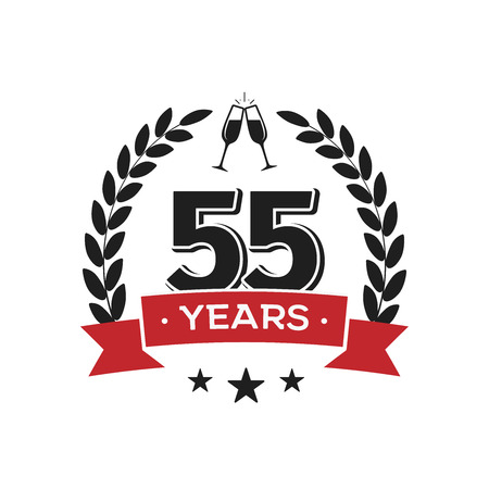 55 th birthday vintage logo template. Fifty five years anniversary retro isolated vector emblem with red ribbon and laurel wreath on white background.