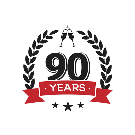 90 th birthday vintage logo template. Ninety years anniversary retro isolated vector emblem with red ribbon and laurel wreath on white background. Ilustracja