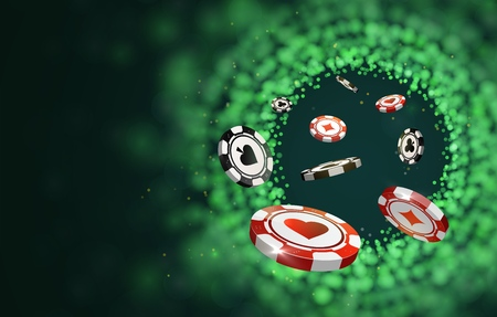 Vector red and black poker chips on green blurred lights background. Online casino web banner