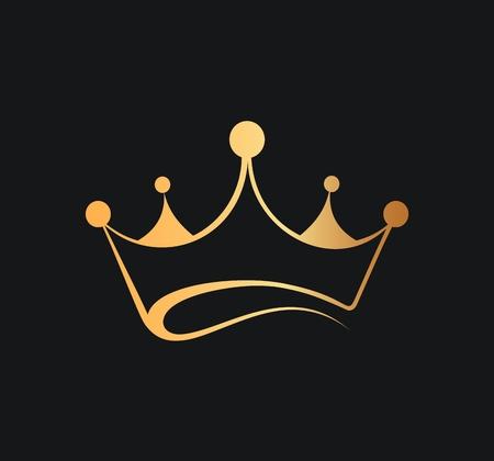 Queens or kings crown vector logo. Golden crown logotype on dark background
