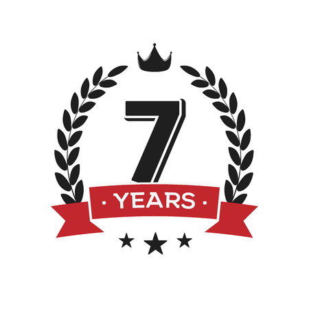 7 th birthday vintage logo template. Seventh years anniversary retro isolated vector emblem with red ribbon and laurel wreath on white background.