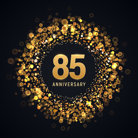 85 years anniversary isolated vector design element. Eighty five birthday   with blurred light effect for dark background