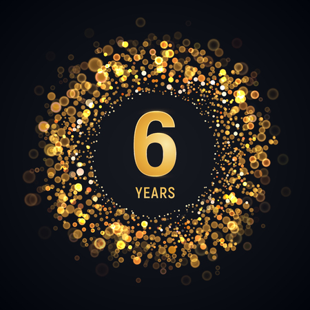 6 th years anniversary isolated vector design element. Sixth birthday   with blurred light effect on dark background