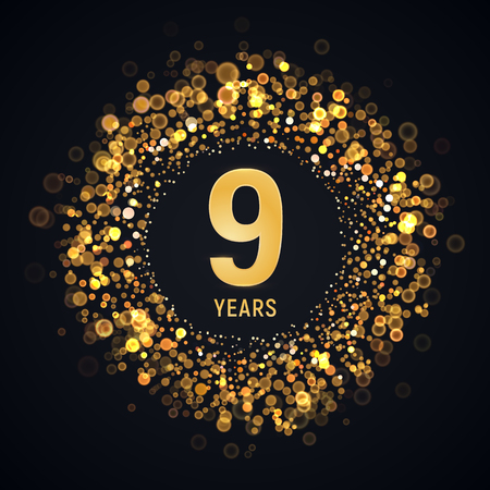 9 th years anniversary isolated vector design element. Nine birthday   with blurred light effect on dark background Çizim