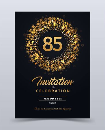 85 years anniversary invitation card template isolated vector illustration. Black greeting card template