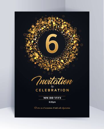 6 years anniversary invitation card template isolated vector illustration. Black greeting card template