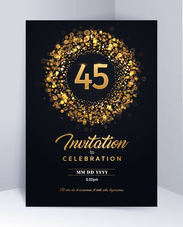 45 years anniversary invitation card template isolated vector illustration. Black greeting card template Illustration