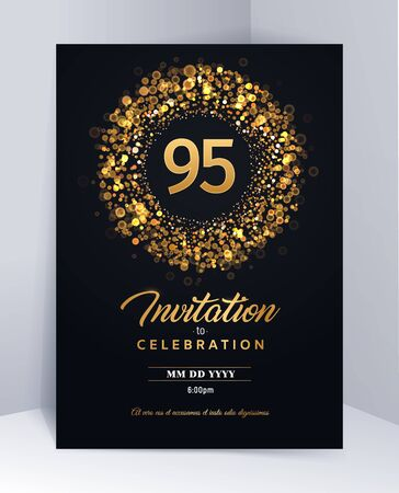 95 years anniversary invitation card template isolated vector illustration. Black greeting card template