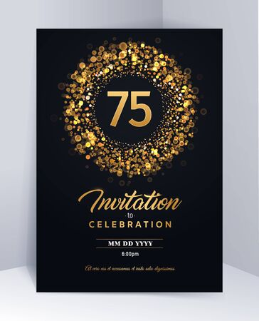 75 years anniversary invitation card template isolated vector illustration. Black greeting card template