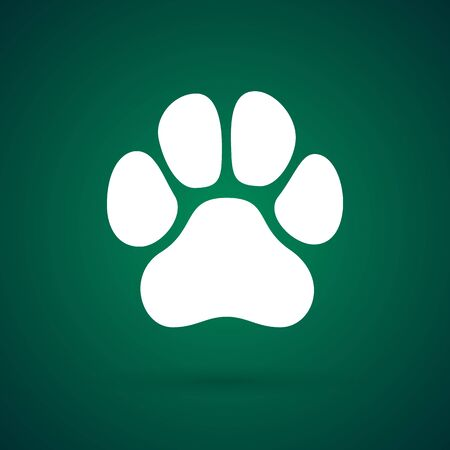 Isolated paw foot on green background. Vector animal foot print