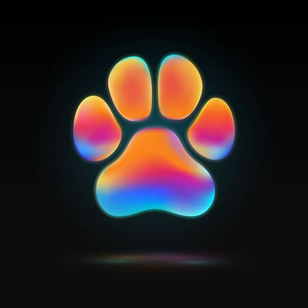 Isolated colorful animal paw colorful liquid vector shape. Dog footprint design element on dark background