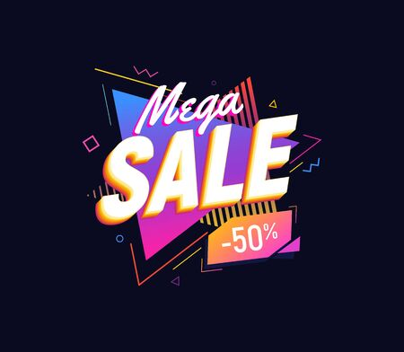 Mega sale on bright triangles background 90s retro style design element. Isolated vector illustration  イラスト・ベクター素材