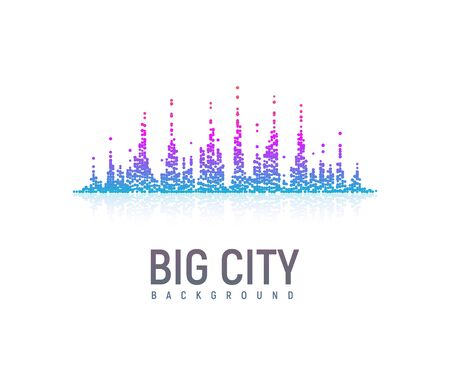 Isolated stylized colorful city landscape like a sound waves.