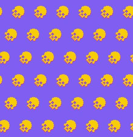 Human skulls seamless pattern 8 bit retro style.