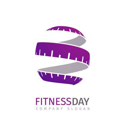 Fitness-Konzept. Stilisierte Maßband-Logo-Vorlage für Abnehmprogramm