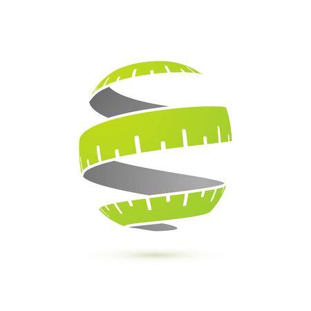 Notion de remise en forme. Modèle de logotype de ruban à mesurer vert isolé stylisé pour le programme de perte de poids Logo
