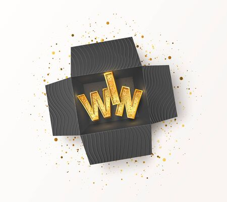 Opened textured black gift box with golden WIN word inside. Enter and winning prizes isolated vector illustration  イラスト・ベクター素材