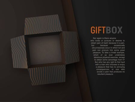 Open empty black textured gift box on black material background. Top view isolated vector gift box. Mockup, vector design element