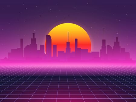 Futuristic vector background of city landscape.  イラスト・ベクター素材