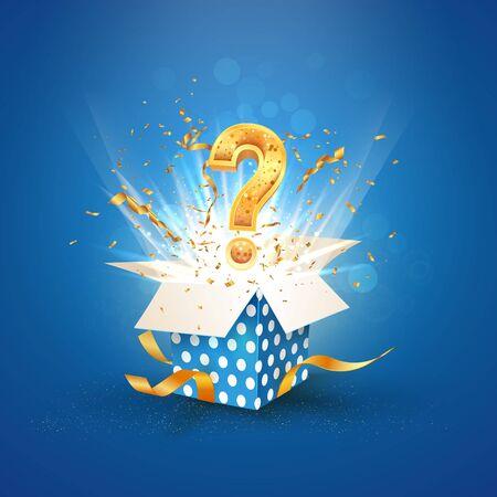 Caja azul con textura abierta con signo de interrogación y explosión de confeti en el interior y sobre fondo azul. Ilustración de vector de lotería
