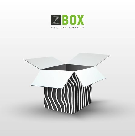 Empty black box with wild wavy pattern. Isolated zoo giftbox vector illustration
