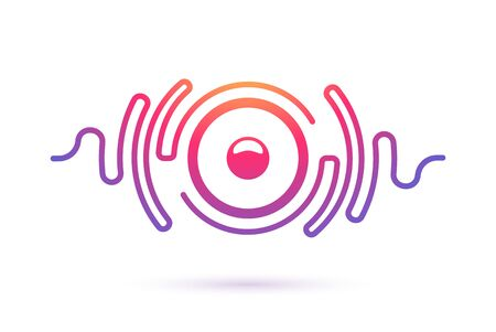 Sound speaker and waves isolated vector icon. Music company, equipment, radio stations  template