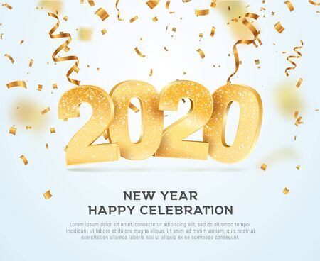 Happy new year 2020 celebrating vector illustration. Xmas holiday background with falling confetti and numbers