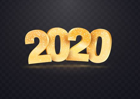 2020 golden vector numbers on transparent background. Isolated Christmas vector design elements