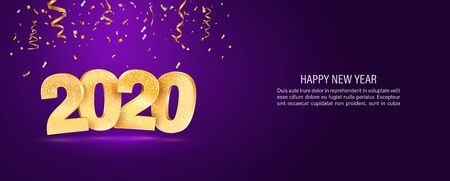 2020 Happy new year vector web banner template. Xmas holiday background with falling confetti