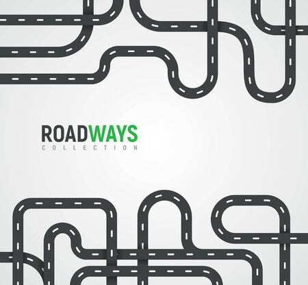 Highway roads collection. Autoroutes vector background Journey or travel way vector illustration.