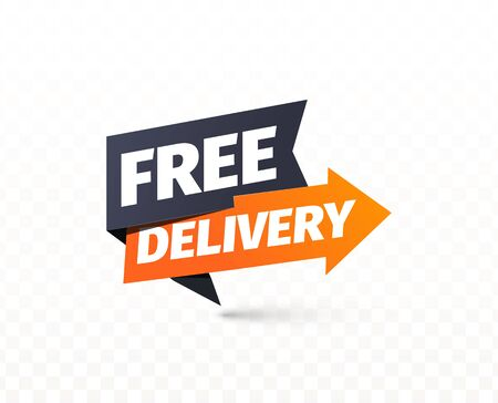 Free delivery vector icon. Shipping pointer. Sticker of cargo services on transparent background  イラスト・ベクター素材