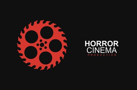 Horror film cinema l template. Stylized movies reel and circular saw on black background. Entertainment logotype concept Banque d'images - 132552934