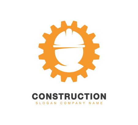 Engineering or construction icon. Silhouette of Professional Worker in a hard hat in orange pinion isolated logotype Ilustracja