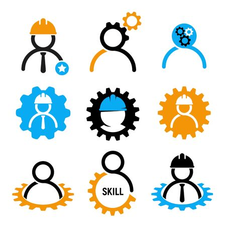 Development skills vector icon set in industrial. Human resources management collection