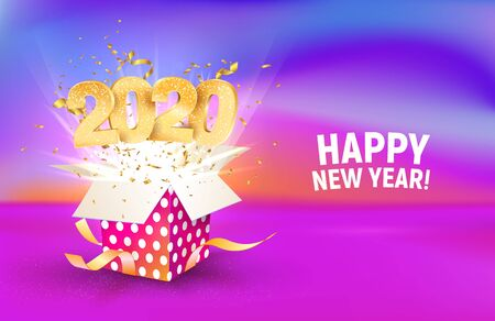2020 golden number fly from colorful gift box. Poster, brochure, banner of Celebration New Year template. Merry christmas vector illustration