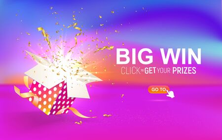Open textured gift box with confetti explosion inside. Big win. Click to get your prizes.Gift Box on bright liquid background