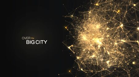 The Golden dots are connected by lines blur motion effect. Night view on big city from airplane abstract vector background. Big data web banner.