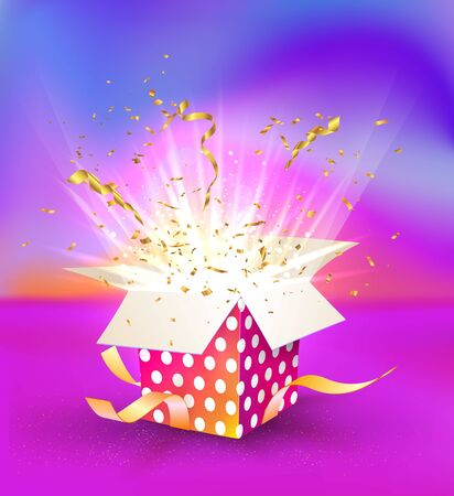 Isolated colorful magic gift box with light effects on bright liquid background. Single giftbox for birthday or winning celebration