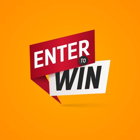 Enter to win prizes vector isolated sticker. Winner sign on yellow background design element  イラスト・ベクター素材