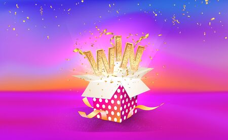 Open textured gift box with confetti explosion inside and WIN word. Big win. Gift box on bright liquid background. Vector illustration