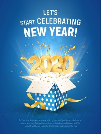 2020 golden number fly from blue gift box. Poster of Celebration New Year template. Merry christmas vector illustration