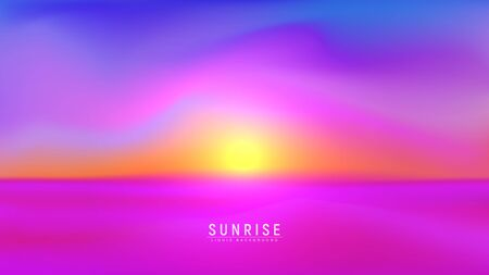 Landscape sundown or sunrise vector illustration. Evening or morning desert background with trendy vibrant gradient colors.